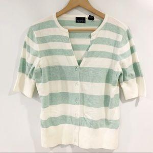 Kersh Striped 3/4 Sleeve Cardigan Sweater Large